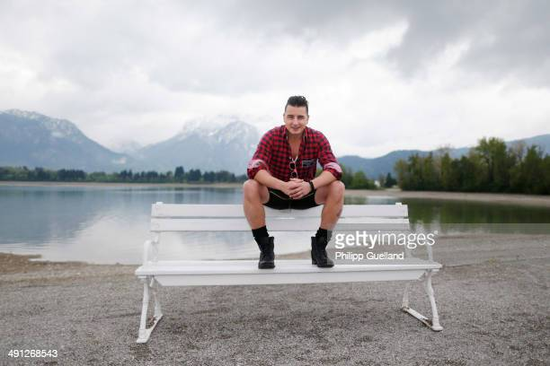 Austrian musician Andreas Gabalier poses for portraits during the 'Gabalier Die grosse VolksRock'n'RollShow' press get together on May 16 2014 in...