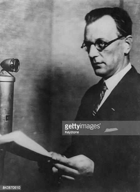 Austrian Nazi politician Arthur SeyssInquart makes a broadcast circa 1938