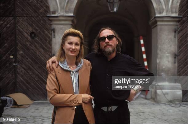 Austrian novelist playwright and poet Elfriede Jelinek with Werner Schroeter