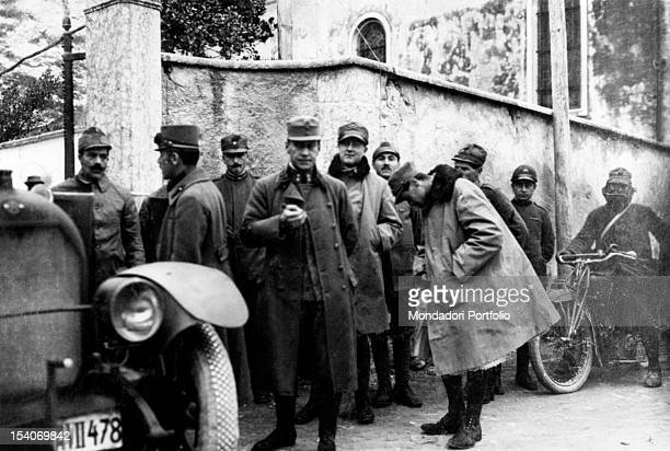 Austrian peace envoys near Rocca di San Leonardo di Borghetto Avio waiting to start peace negotiations leading to the signing of the armistice of...