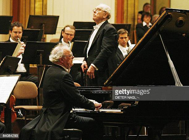 Austrian Pianist Alfred Brendel is pictured at his last ever public concert the famous Golden Auditorium of Vienna's Musikverein on December 18 2008...