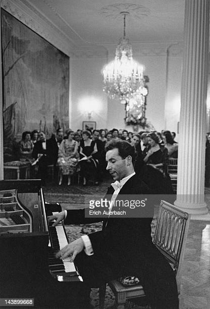 Austrian pianist Paul Badura-Skoda giving a recital at the Austrian Embassy in London, 16th November 1959.