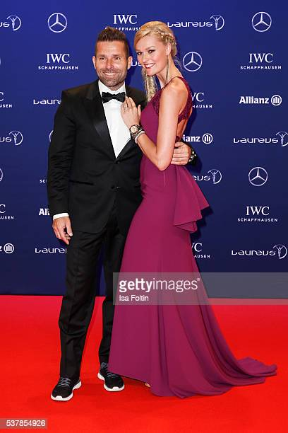 Austrian pilot Hannes Arch and Miriam Hoeller attend the Laureus World Sports Awards 2016 on April 18 2016 in Berlin Germany