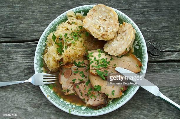 Austrian plain fare, roast pork with bread dumpling and sauerkraut