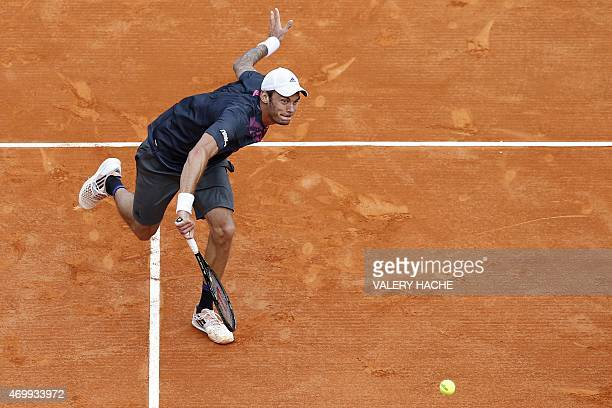 Austrian player Andreas Haider Maurer returns the ball to Serbian player Novak Djokovic during the MonteCarlo ATP Masters Series Tournament tennis...
