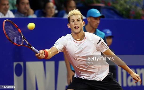 Austrian player Dominic Thiem returns the ball to Portuguese player Joao Sousa during the final match of the ATP Croatia Open tennis tournament on...
