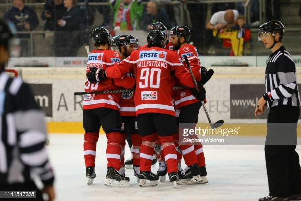 Austrian players celebrate during the Austria v Denmark Ice Hockey International Friendly at Erste Bank Arena on May 5 2019 in Vienna Austria