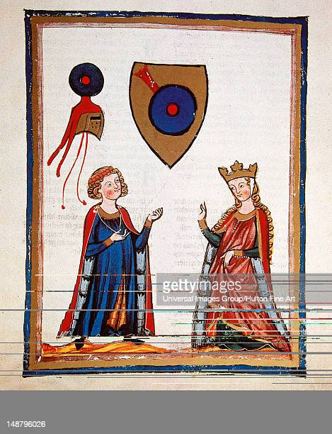 Austrian poet Der Von KŸrenberg talking to a lady Fol 63r Codex Manesse by Rudiger Manesse and his son Johannes University of Heidelberg Library...