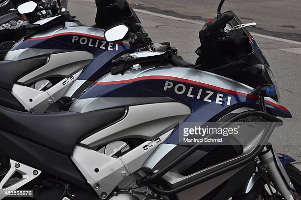 Austrian police motorcycles are parked at the Harley Davidson Charity Tour 2014 Kick Off at Heldenplatz on August 13 2014 in Vienna Austria Hundreds...