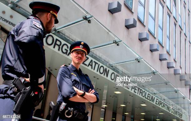 Austrian police officers guard the entrance to the Organization of the Petroleum Exporting Countries headquarters in Vienna Austria on May 24 2017 on...