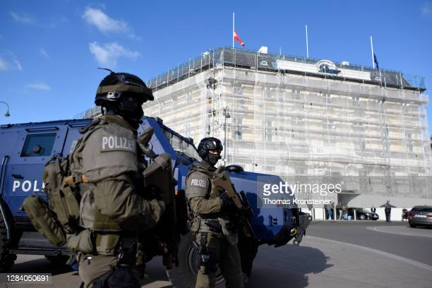 Austrian police special forces protect the Chancellery and President's office after a gunman rampaged on Monday night, on November 05, 2020 in...