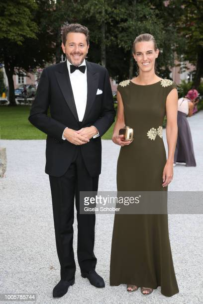 Austrian politician Harald Mahrer and his wife Andrea Samonigg-Mahrer during the ISA gala at Schloss Leopoldskron on July 26, 2018 in Salzburg,...