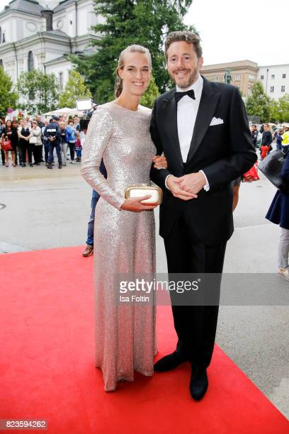 Austrian politician Harald Mahrer and his wife Andrea Samonigg-Mahrer attend the 'La Clemenzia di Tito' premiere during the Salzburg Festival 2017 on...