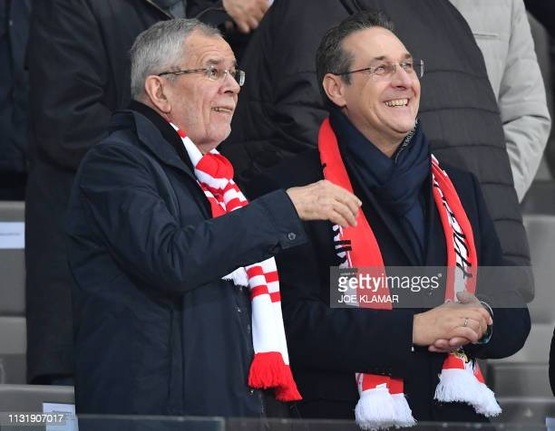 Austrian President Alexander Van Der Bellen and viceChancellor HeinzChristian Strache attend the UEFA Euro 2020 Group B qualification football match...