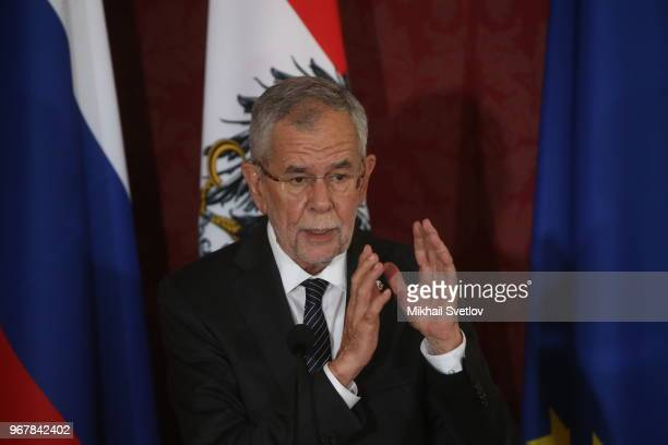 Austrian President Alexander Van der Bellen speaks during a media event following a welcoming ceremony for Russian President Vladimir Putin June 5...