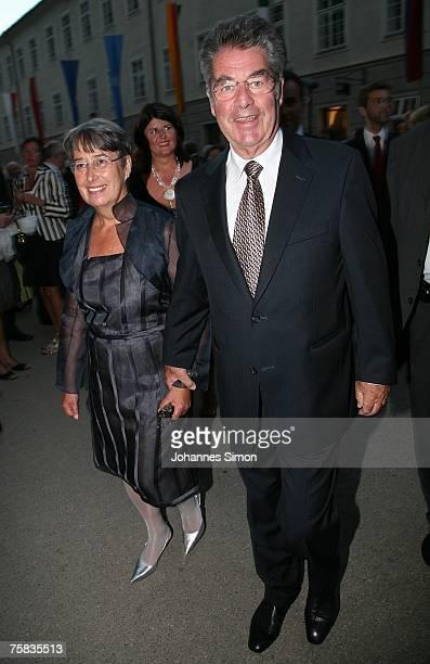 Austrian President Heinz Fischer and his wife Margit arrive for the opening concert of Salzburg summer festival on July 27 2007 in Salzburg Austria