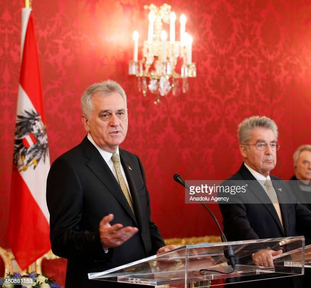 Austrian President Heinz Fischer and President of Serbia Tomislov Nikolic hold a press conference following their meeting in Vienna Austria on March...