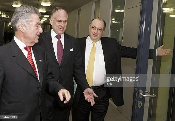 Austrian President Heinz Fischer and the President of the Jewish World Congress Ronald Lauder are welcomed by the President of the Jewish community...