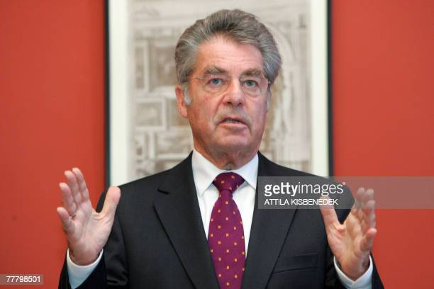 Austrian President Heinz Fischer speaks in the Grand hall of the Hungarian Sciences Academy building 08 November 2007 during a joint press conference...