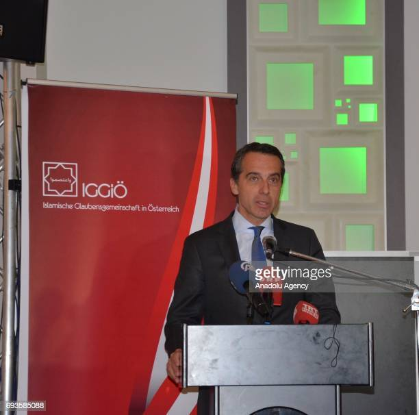 Austrian Prime Minister Christian Kern gives a speech during an Iftar dinner that organized by Islamic Religious Authority of Austria within the...