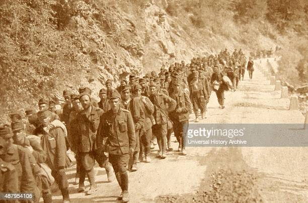 Austrian prisoners of war march to detention in Italy after their defeat at Isonzo 1918, during the First World War. 1917