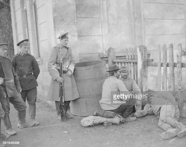 Austrian prisoners seen here under guard at Halicz station Circa September 1914