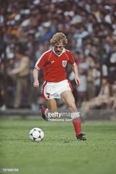 Austrian professional footballer Walter Schachner pictured making a run with the ball for Austria at the 1982 FIFA World Cup tournament in Spain in...