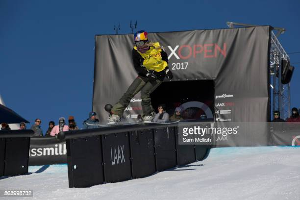 Austrian professional snowboarder Anna Gasser riding the rail section during the 2017 Laax Open Slopestyle final on 20th January 2017 in Laax...