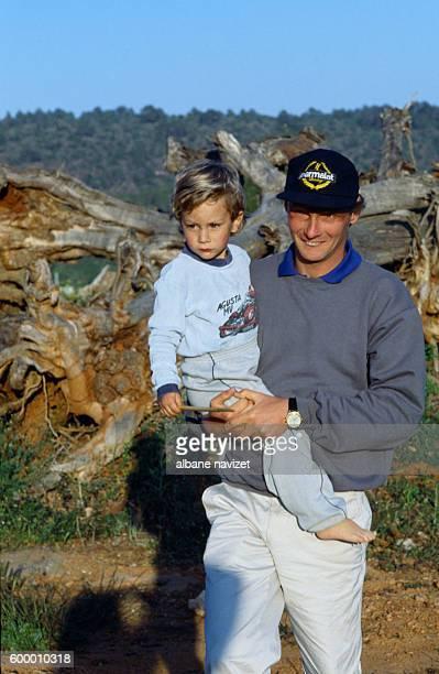 Austrian race car driver Niki Lauda whose real name is Andreas Nikolaus Lauda with his son Mathias in Ibiza