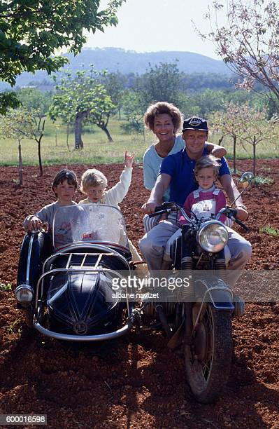 Austrian race car driver Niki Lauda whose real name is Andreas Nikolaus Lauda with his wife Marlene and their children in Ibiza