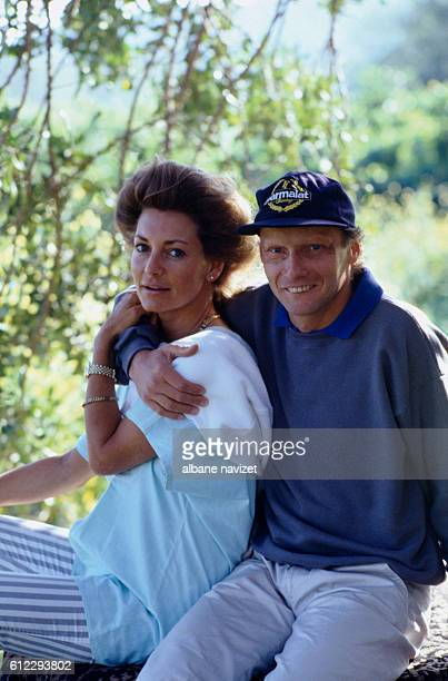 Austrian race car driver Niki Lauda whose real name is Andreas Nikolaus Lauda with his wife Marlene in Ibiza