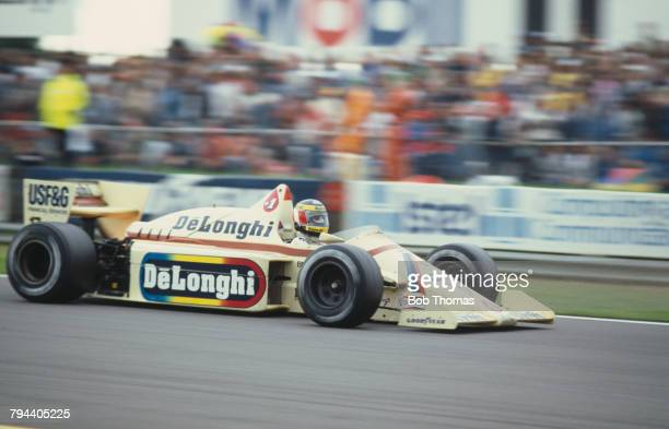 Austrian racing driver Gerhard Berger drives the Barclays Arrows BMW Arrows A8 BMW M12/13 15 L4t to finish in 8th place in the 1985 British Grand...
