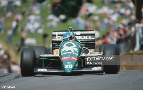 Austrian racing driver Gerhard Berger drives the Benetton Formula Ltd Benetton B186 BMW M12/13 15 L4t in the 1986 British Grand Prix at Brands Hatch...