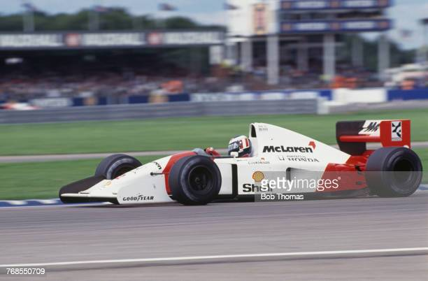 Austrian racing driver Gerhard Berger drives the Honda Marlboro McLaren McLaren MP4/7A Honda RA122E/B 35 V12 to finish in 5th place in the 1992...