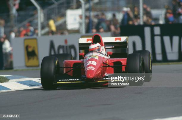 Austrian racing driver Gerhard Berger drives the Scuderia Ferrari Ferrari F93A Ferrari 041 35 V12 in the 1993 European Grand Prix at Donington Park...