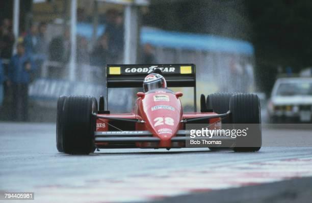 Austrian racing driver Gerhard Berger drives the Scuderia Ferrari SpA SEFAC Ferrari F1/87 Ferrari 033D 15 V6t in the 1987 Belgian Grand Prix at...