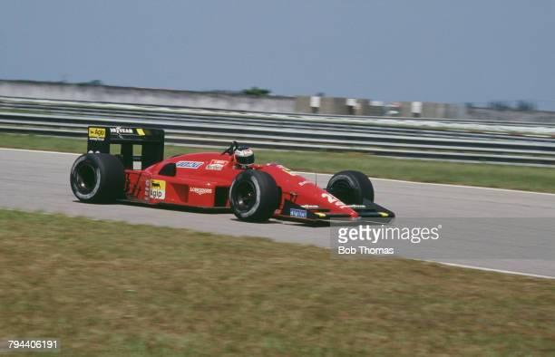 Austrian racing driver Gerhard Berger drives the Scuderia Ferrari SpA SEFAC Ferrari F1/87/88C Ferrari 033E 15 V6t to finish in 2nd place in the 1988...