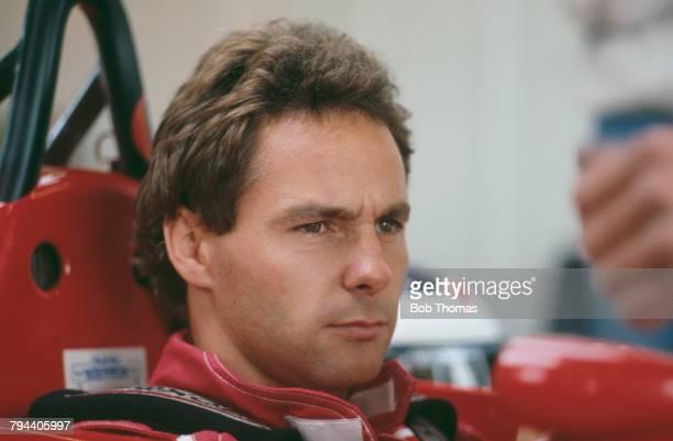 Austrian racing driver Gerhard Berger pictured seated in the driver's seat of the Scuderia Ferrari SpA SEFAC Ferrari F1/87 Ferrari 033D 15 V6t during...