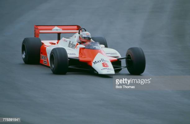 Austrian racing driver Niki Lauda drives the Marlboro McLaren International McLaren MP4B Ford Cosworth DFV 30 V8 to finish in first place to win the...