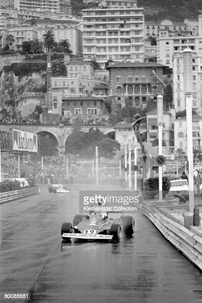 Austrian racing driver Niki Lauda driving the Ferrari 312T during a wet Monaco Grand Prix Monte Carlo 11th May 1975 Lauda won this rainshortened race