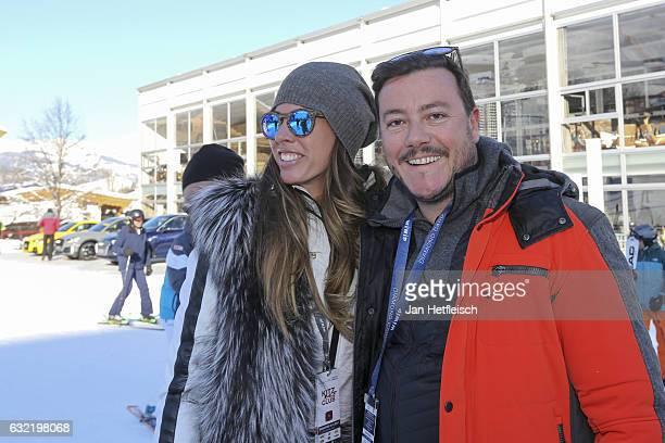 Austrian real estate tycoon Rene Benko and his wife Nathalie Benko poses for a picture during the Super G run on January 20 2017 in Kitzbuehel Austria