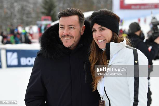 Austrian real estate tycoon Rene Benko and his wife Nathalie Benko pose for a picture during the KitzCharityTrophy on January 20 2018 in Kitzbuehel...
