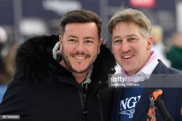 Austrian real estate tycoon Rene Benko and Tobias Moretti pose for a picture during the KitzCharityTrophy on January 20 2018 in Kitzbuehel Austria