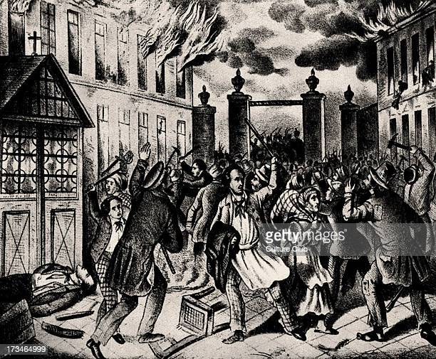 Barricades on St Marxer Linie Vienna 1848 Near city walls Lithography From March 1848 through July 1849 the Habsburg Austrian Empire was threatened...