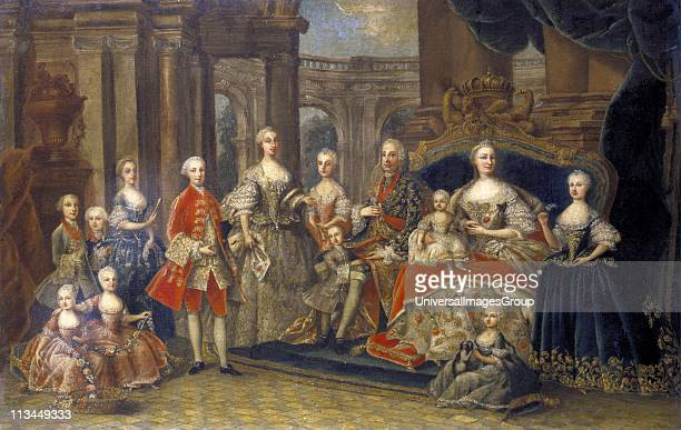 Austrian Royal Family': Maria Teresa Holy Roman Empress, Archduchess of Austria, Queen of Hungary and Bohemia with husband Emperor Francis I and...