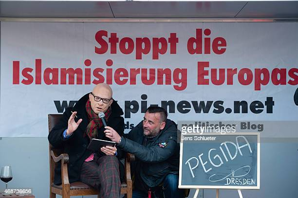 Austrian satirist Alfons Proebstl speaks during the Pegida weekly protests on Easter Monday at a rally on April 6 2015 in Dresden Germany on the...