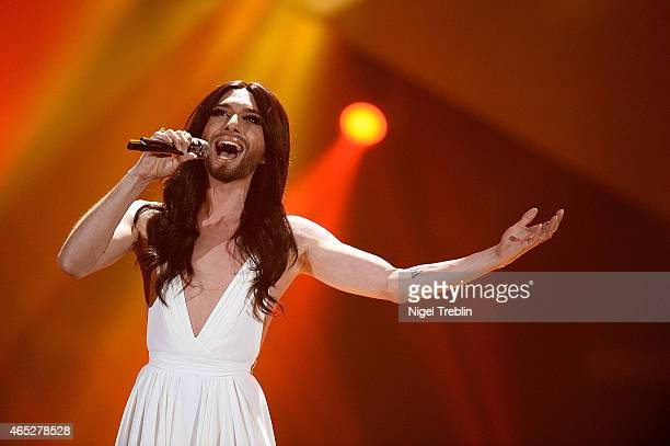 Austrian singer and Eurovision Song Contest 2014 winner Conchita Wurst performs during the finals of the TV show 'Our Star For Austria' on March 5,...