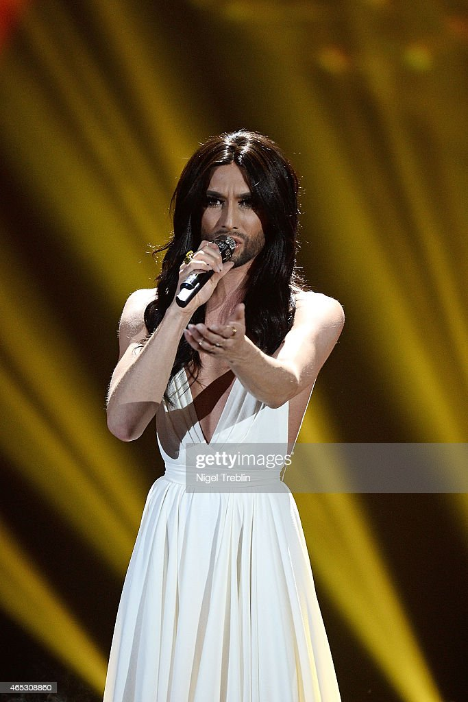 Austrian singer and Eurovision Song Contest 2014 winner Conchita Wurst performs during the finals of the TV show 'Our Star For Austria' (German title: Unser Song fuer Oesterreich) on March 5, 2015 in Hanover, Germany. 'Our Star For Austria' is a national contest to vote for the German contestant for the 60th Eurovision Song Contest taking place in Vienna, Austria in May 2015.