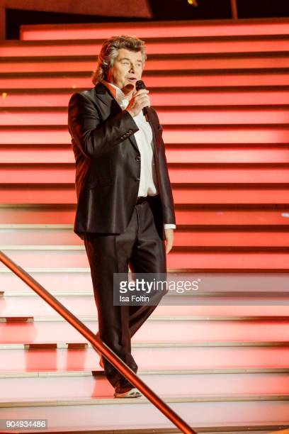 Austrian singer Andy Borg performs at the 'Schlagerchampions Das grosse Fest der Besten' TV Show at Velodrom on January 13 2018 in Berlin Germany