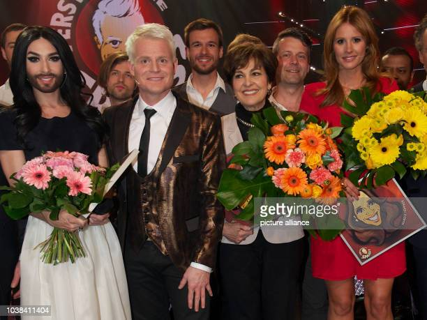 Austrian singer Conchita Wurst television host Guido Cantz Swiss singer and television presenter Paola Felix and television presenter Mareile...